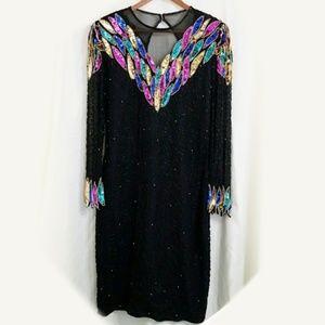 Vintage Silk beaded gown black rainbow sequin long